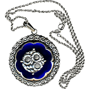Necklace--Vintage Large Scandinavian Cobalt Glass and Floral Sterling Silver