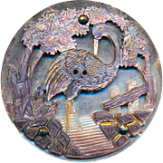 Button ~ Extra Large 19th Intricately Carved Compound Pearl Heron in Garden