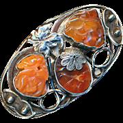 Brooch--Large Open Work Foliate Carved Carnelian Stones in Sterling Silver