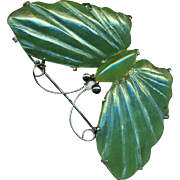 Brooch--Large Vintage Nephrite Jade Butterfly in Sterling Silver