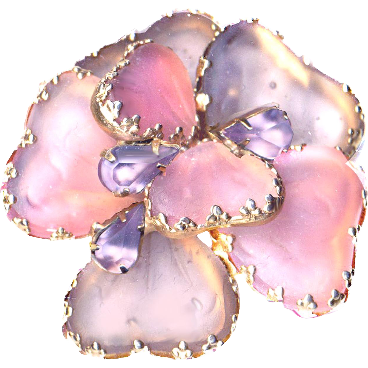 Brooch--Large Vintage 1960s DeNicola Mayorka Petals in Frosted Pink and Lavender Glass