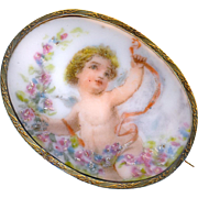 Brooch--Late 19th C. Soft Transfer on Porcelain of Cherub with Ribbon & Wreath of Flower in Vermeil