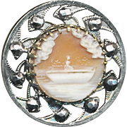 Button--Late 19th C. Cameo Carved Shell Lady in Boat with Cut Steels