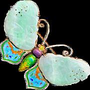 Brooch--Large Vintage Chinese Vermeil, Enamel, and Jadedite Butterfly
