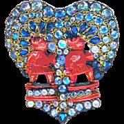Brooch--Large Vintage Hobe Red Bandora Men in Blue & Crystal Stones & Gold-plated Silver Vermeil