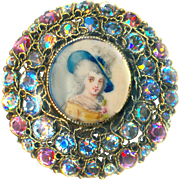 Button--Very Large Signed Hobe Jeweled Painted Portrait Under Glass in Silver Vermeil