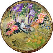 Button--Extra Large Matte Finish Modern Satsuma Pottery Gold Brocade Garden Birds