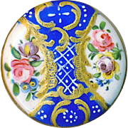 Button--Stunning 18th C. Georgian Battersea Enamel Rococo Floral with Diapering