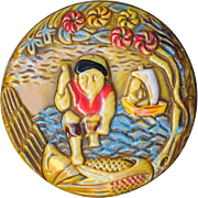 Button--Large Vintage Pyralin Celluloid-ivoroid Fable of Kinko and Carp in Original Paint