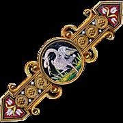 Brooch--Very Fine Etruscan Motif 18 Karat Gold 19th C. Micromosaic Swan