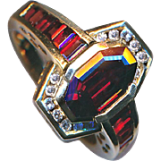 Ring--Unusual Channel-set Vintage Garnets and Diamonds in 14 Karat Gold Size 8.5