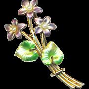 Brooch--Large Vintage Krementz 14 Karat Gold Enamel Violets & Pearls