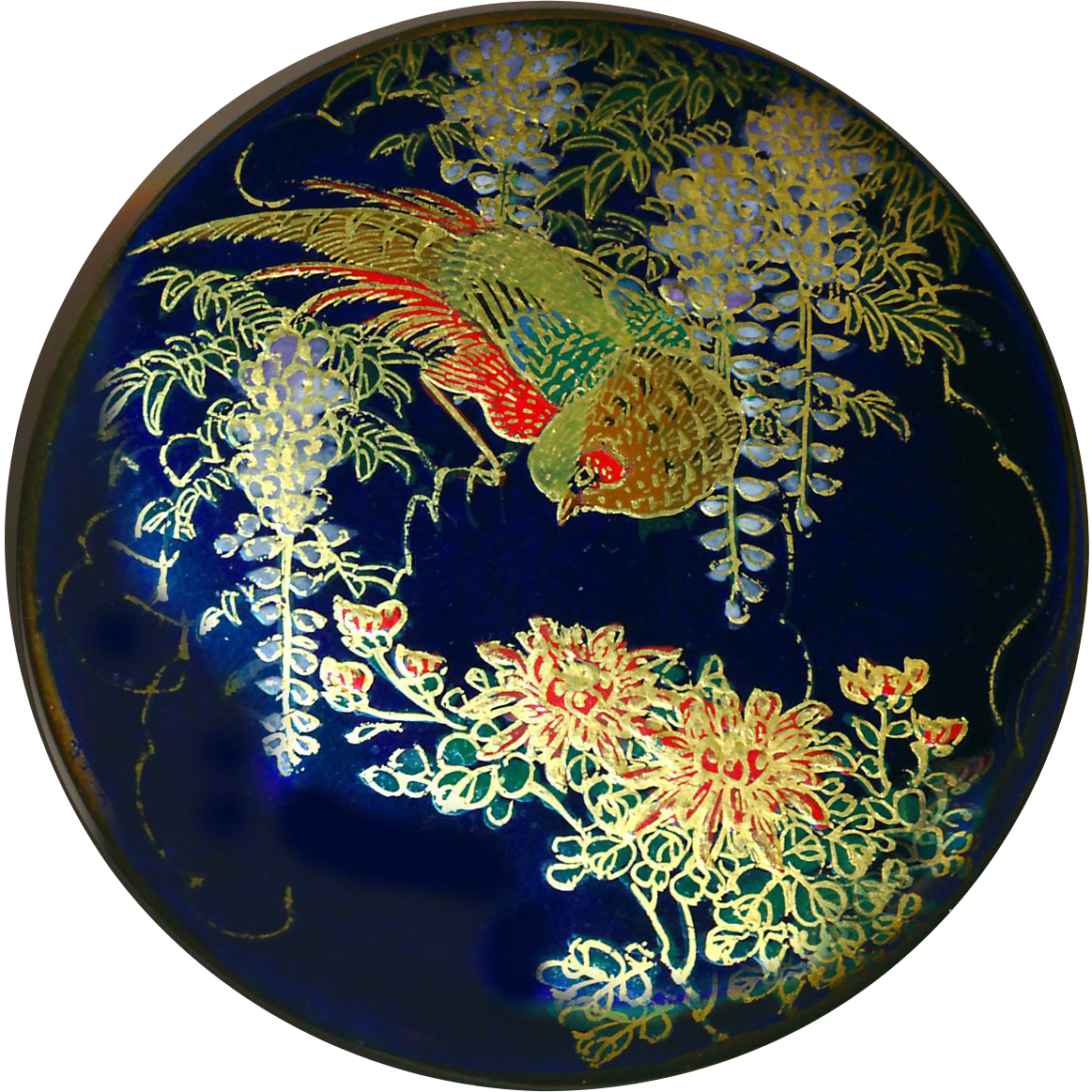 Button--Very Large Late 19th C. Japanese Satsuma Pottery Red Bird in Blue Wisteria on Cobalt Ground