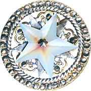 Button--Very Large Late 19th C. Open-work Silvered Brass, Cut Steel, and Pearl Celestial Star