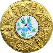 Button--Large One-piece Brass Leaf & Thistle Border Enamel Blue Aster