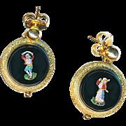Earrings--Very Fine 19th C. Micromosaic Figures in Black Glass & 14 Karat Gold