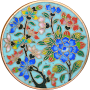 Button--Large Late 19th C. Fine Cloisonne Flowers on Sky Blue Ground