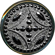 Button ~ Late 1800s Lacy Pressed Victorian Black Glass in Brass