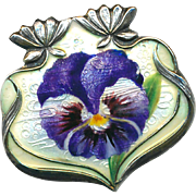 Brooch--Small Art Nouveau Enamel violet or Pansy on Sterling Silver