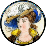 Button--Large Mid-19th C. Hand Painted Transfer on Soft Paste Porcelain Georgian Lady