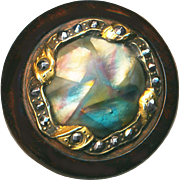 Button--Large Late 19th C. Satin Art Glass Jewel in Brass & Wood with Cut Steels