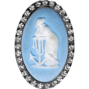 Button--Unusual 5-shank Brass and Jasperware Allegorical Hope in Brilliant Rhinestone Border