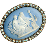 Brooch--Large Classical Jasperware Cameo Medallion in Rhinestone Border--Snake Barbecue