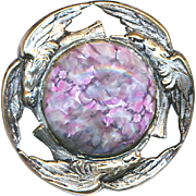 Button--Late 19th C. Three Bird Border Silvered Brass Art Glass Jewel