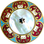 Button--Large 19th C. Champleve Enamel Bordered White Iridescent Pearl