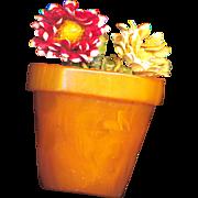 Button--Vintage Chunky Bakelite Flower Pot & Straw Flowers