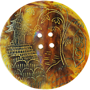 Button--Huge Vintage Celluloid Faux Tortoiseshell Asian Temple Scene--Concave & Incised Gold