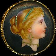 Button--Fine Mid-19th C. Large Polychrome Porcelain Lady Head on Matte Black