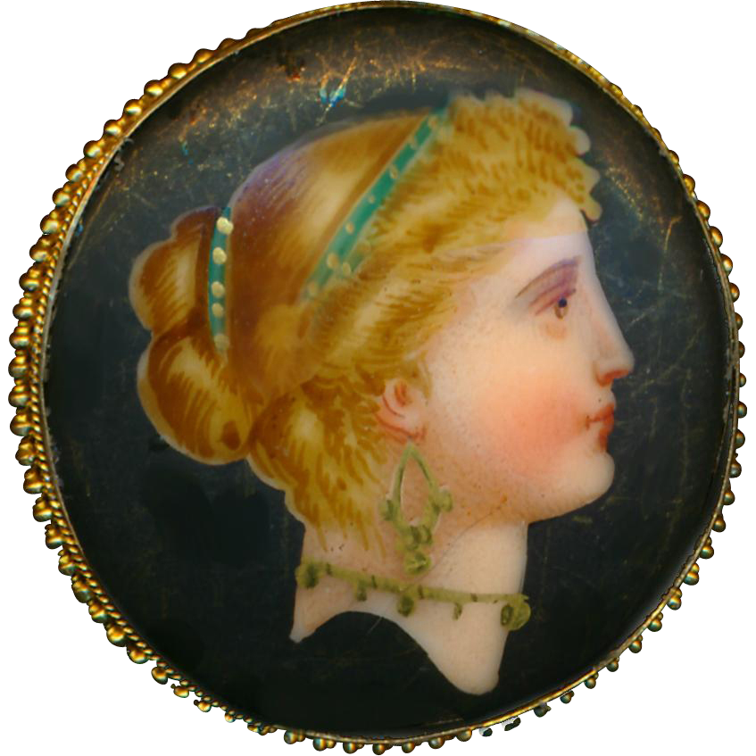 Button--Fine Mid-19th C. Large Polychrome Porcelain Lady Head on Matte Black