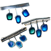 Brooch--Small Modern Hand Crafted Sterling Blue & Green Enamel Drops