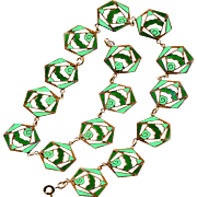 Necklace--Art Deco Era Enamel on Open-work Brass in Shades of Green
