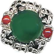 Ring--Art Deco Sterling, Chrysoprase, Carnelian, and Marcasites Size 7