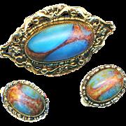 Brooch & Earrings--Whiting & Davis Art Glass in Gold Tone Metal