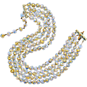 Beaded Necklace--Vintage 1950s Opalescent & Pure Gold Foil Venetian Glass