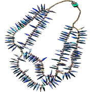 Necklace--Vintage Iridized Glass Spikes in Festoons with Gold Seed Beads