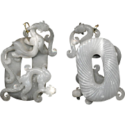 Large Multilayered Double-sided Carving of Translucent White Jade Baby Dragons or Chi