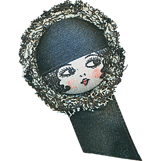 Button--Early 20th C. Garter Flapper Girl for Mourning
