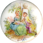 Button--Fine Old Hand Painted Porcelain Pastoral Figures in 18th C. Dress