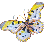 Brooch--Sterling Silver Vermeil and Hand Painted Enamel Moth or Butterfly