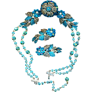 Necklace Earrings--Incredible Vintage No Name Turquoise Glass & Rose Montees