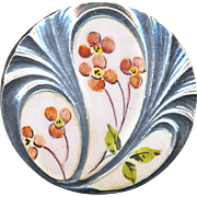 Button ~ Early 20th C. Art Nouveau Emaux Peints Enamel Pink Flowers on Sculpted Sterling Silver
