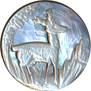Button--Late 19th C. Cameo Silver Pearl Stag in Clearing Medium