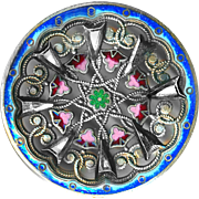 Button--Large 19th C. Elaborate Openwork Enameled Brass & Bright Arrow Steels