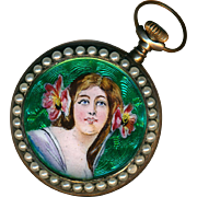 Pendant Watch ~ Small Early 20th C. Art Nouveau Guilloche & Hand Painted Enamel Lady with Pearls