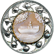 Button--Lovely 19th C. Shell Cameo Scene of Lady in Rowboat in Brilliant Cut Steels