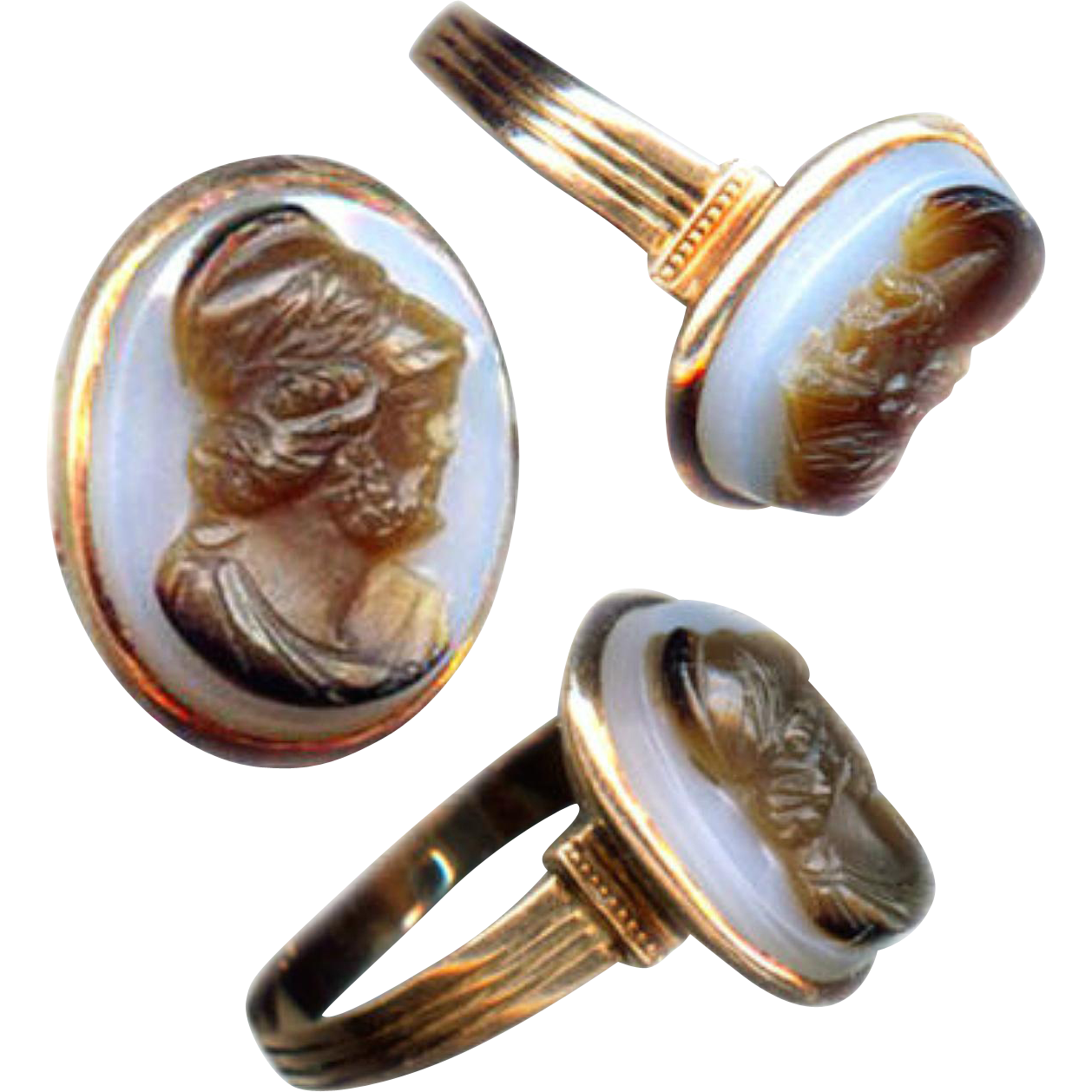 Ring--Mid-19th C. 9 Karat Pink Gold and Bluish-White to Translucent Brown Agate Cameo of Achilles (Or Someone)